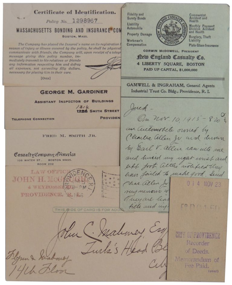 1910-1925 Collection of Attorney and Insurance Correspondence, Providence, Rhode Island