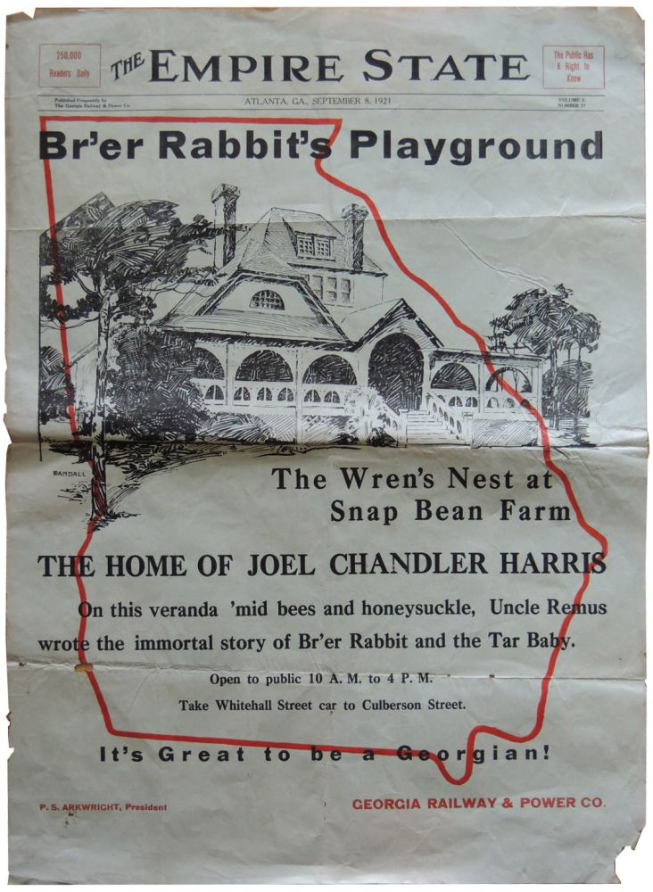 1921 Promotional Advertisement for Joel Chandler Harris's The Wren's Nest