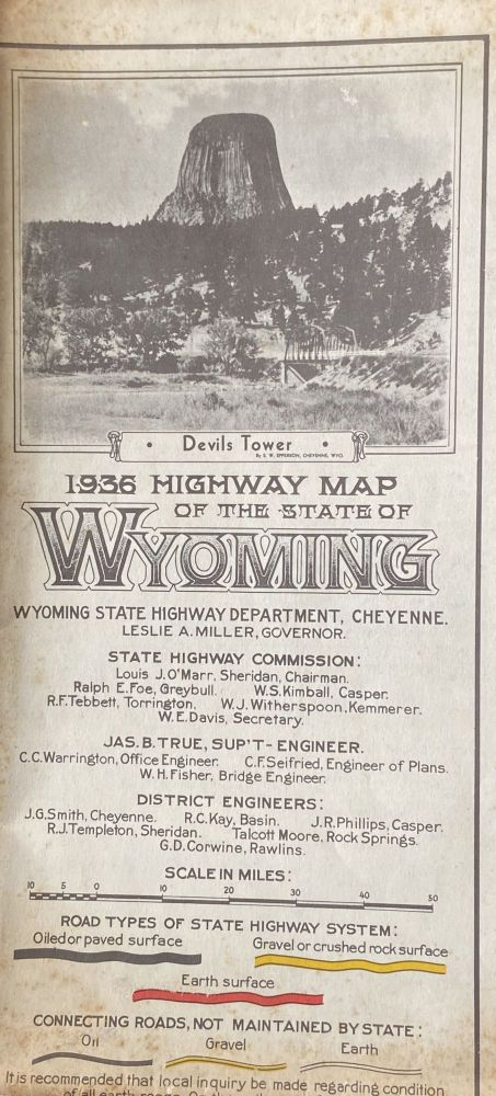 1936 Highway Map of the State of Wyoming