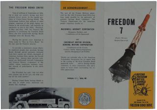 1962 Project Mercury Manned Spacecraft Freedom Bond Drive Souvenir Brochure