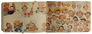 Autograph Book with 80 pp. of magazine and newspaper images of Campbell Soup Kids c. 1950s/1960s