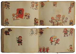 Autograph Book with 80 pp. of magazine and newspaper images of Campbell Soup Kids c. 1950s/1960s.