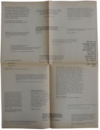 A lecture by John Cage. Saturday, February 27, 1988. Crowell Concert Hall, Center for the Arts....