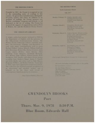 Program for a reading by Gwendolyn Brooks on March 9, 1978 as part of the Tenth Anniversary Season of The Writers Forum (Spring 1978).