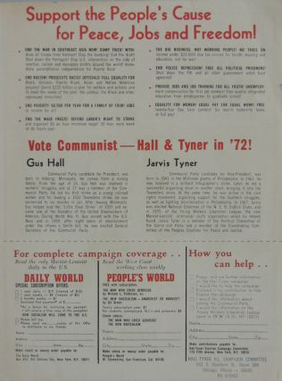 """Working People Need Their Own Candidates! Gus Hall for President, Jarvis Tyner for Vice-President"" Flyer"