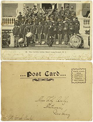 Real Photo Postcard of The Carlisle Indian Band. Long Branch, N.J