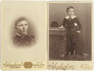 2 Cabinet Cards of Unidentified Child and Woman from Shepherd Photo Co. of St. Paul, MN, circa 1892