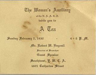 Mailing Envelope and Invitation for The Women's Auxiliary of the NAACP Tea in Philadelphia